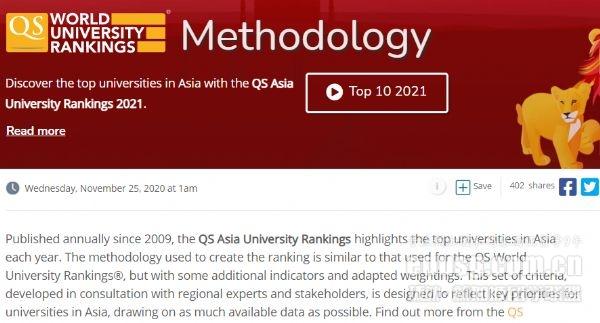 2021QS亚洲大学排名