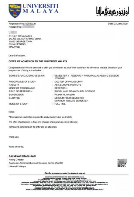 马来亚大学博士申请成功案例