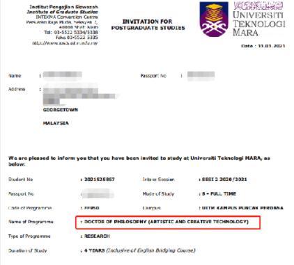马来西亚马拉工艺大学博士录取案例