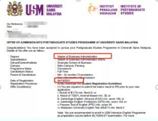 马来西亚公立大学硕士录取案例
